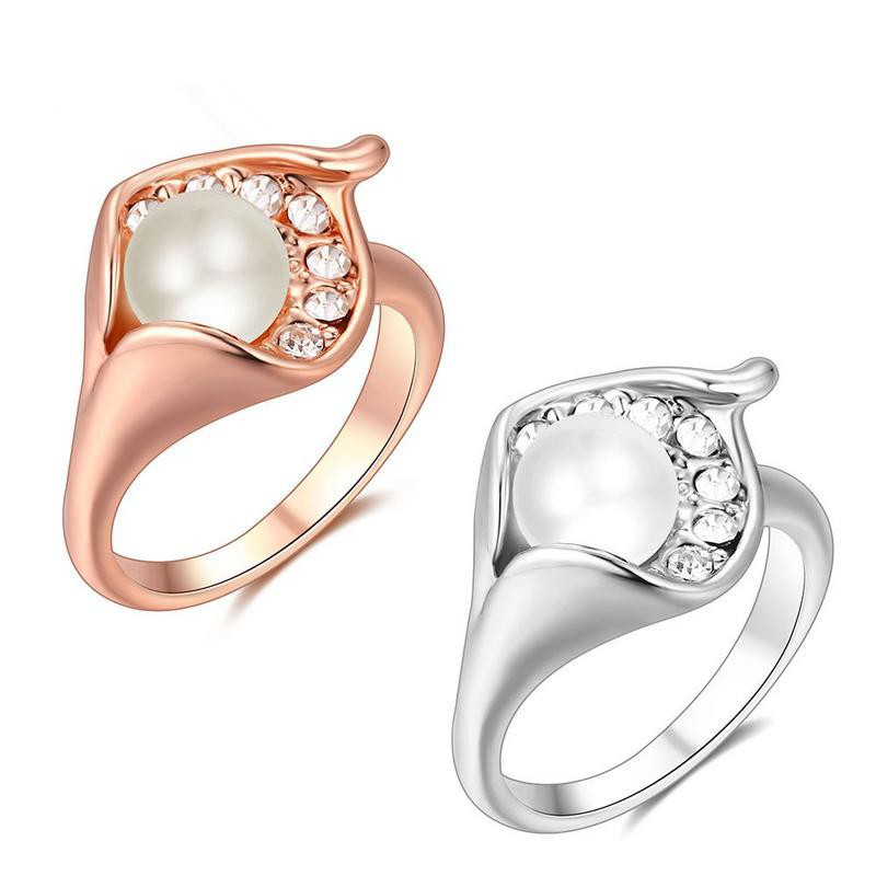 女士禮物金銀葉珍珠戒指戒指女生
