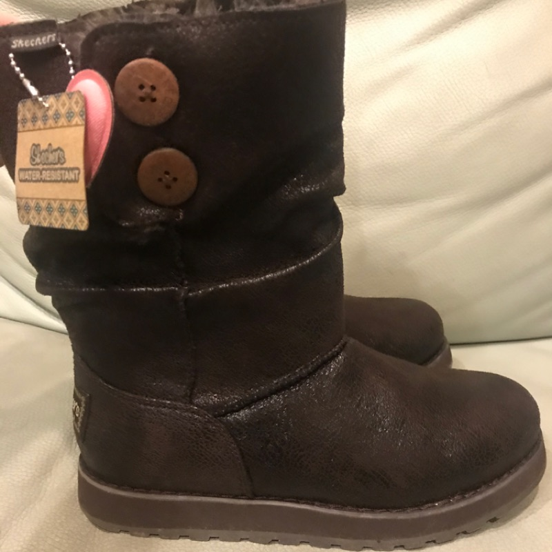 全新Skechers 咖啡色毛靴6號