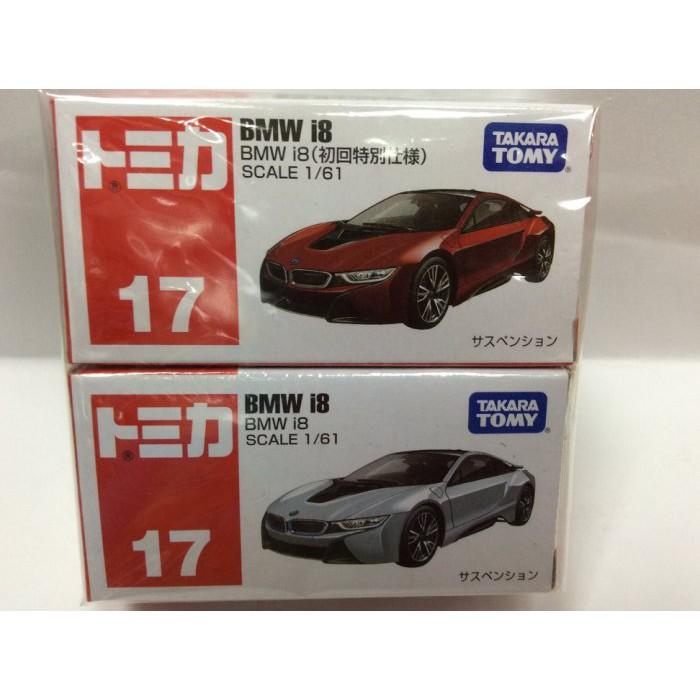 [佑子媽]NO.017 BMW i8跑車+初回(2台一起賣)TM017A4+TM017-C1 TOMICA 多美小汽車