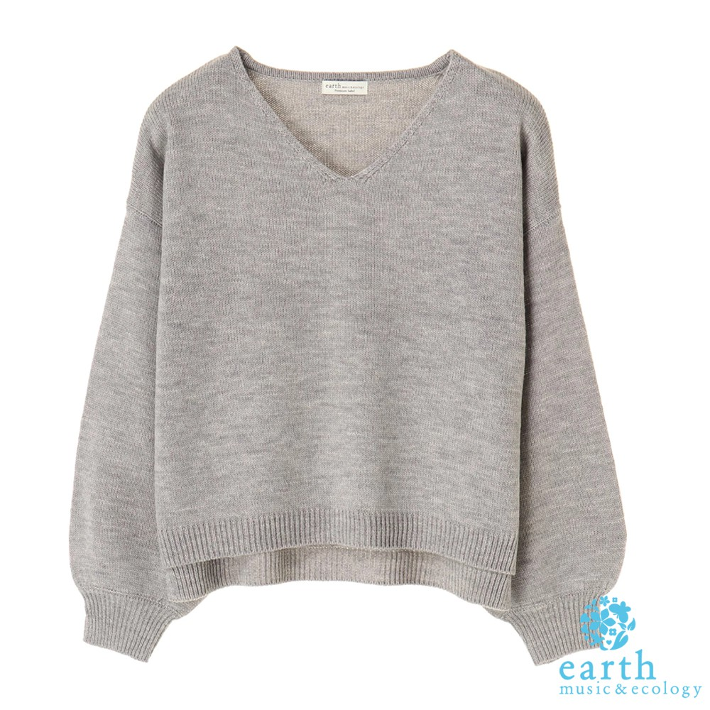 earth music&ecology V領側開衩落肩針織上衣(10181CB0404)
