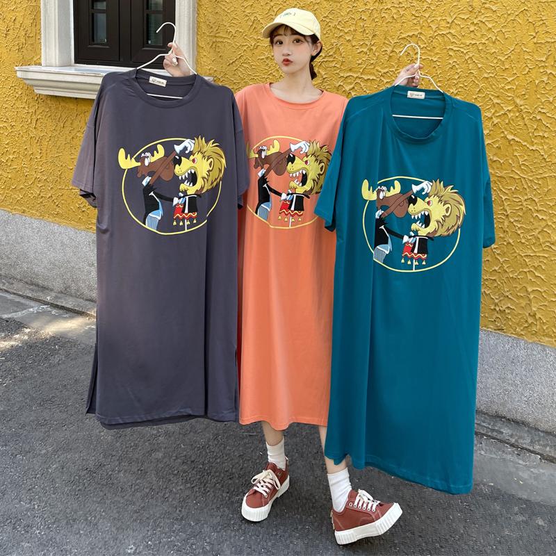 M-4XL大尺碼衣著 2021夏季ins韓版設計感露背卡通大碼女裝長裙過膝T恤裙
