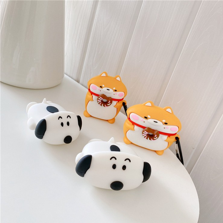 趴趴史努比 甜甜圈柴犬 aipods pro保護套 立體卡通狗狗airpods保護套 創意卡通萌寵耳機盒子