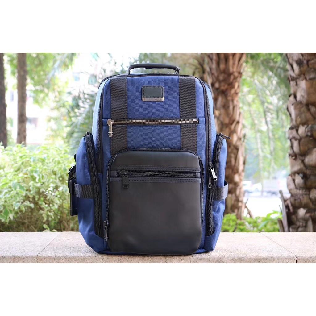 TUMi232389GCM 15寸男士商務休閑電腦雙肩背包 彈道尼龍配真皮後背包 迷彩色 藍色