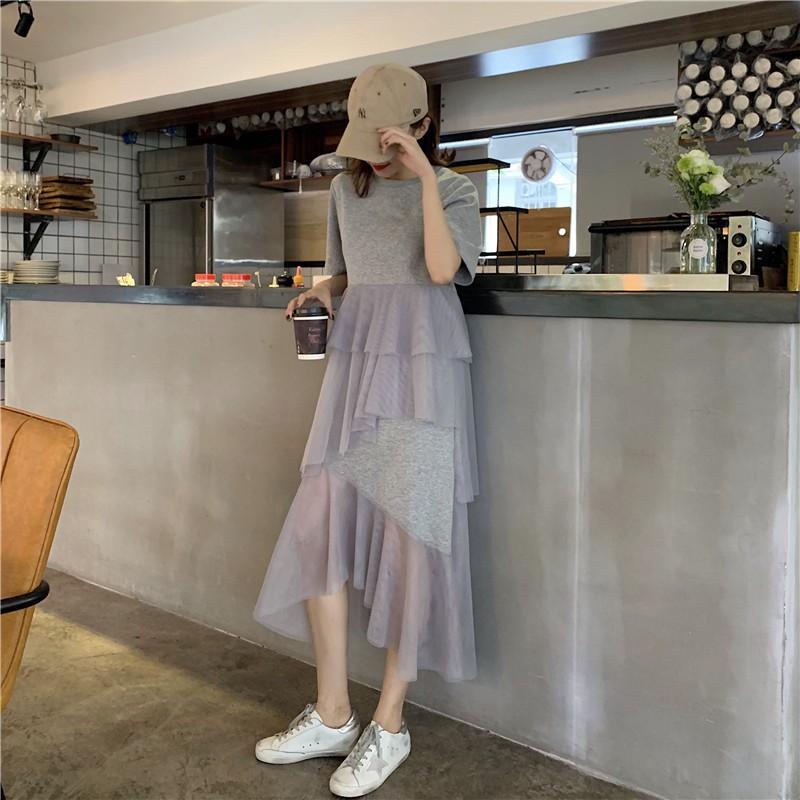 時尚氣質不規則網紗拼接短袖洋裝 韓系春夏新款圓領素色素面T恤拼接女生衣著打底裙外穿不對稱層層蛋糕裙過膝長裙魚尾裙