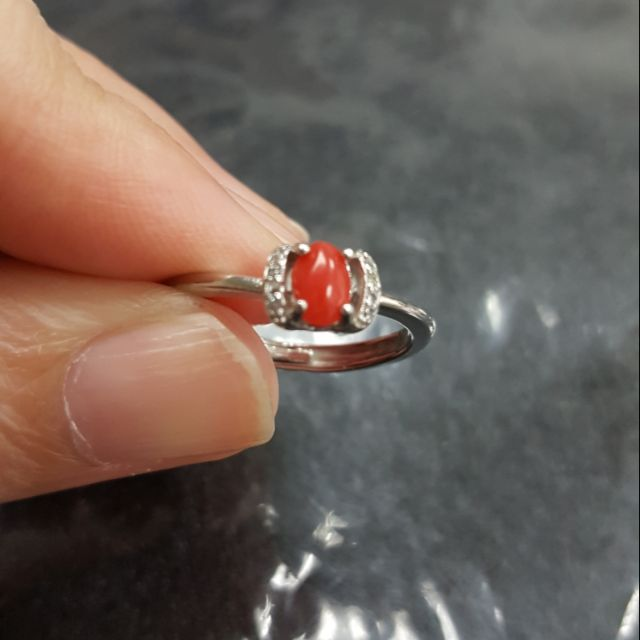 紅玉髓戒指925銀(活圍)(特價)