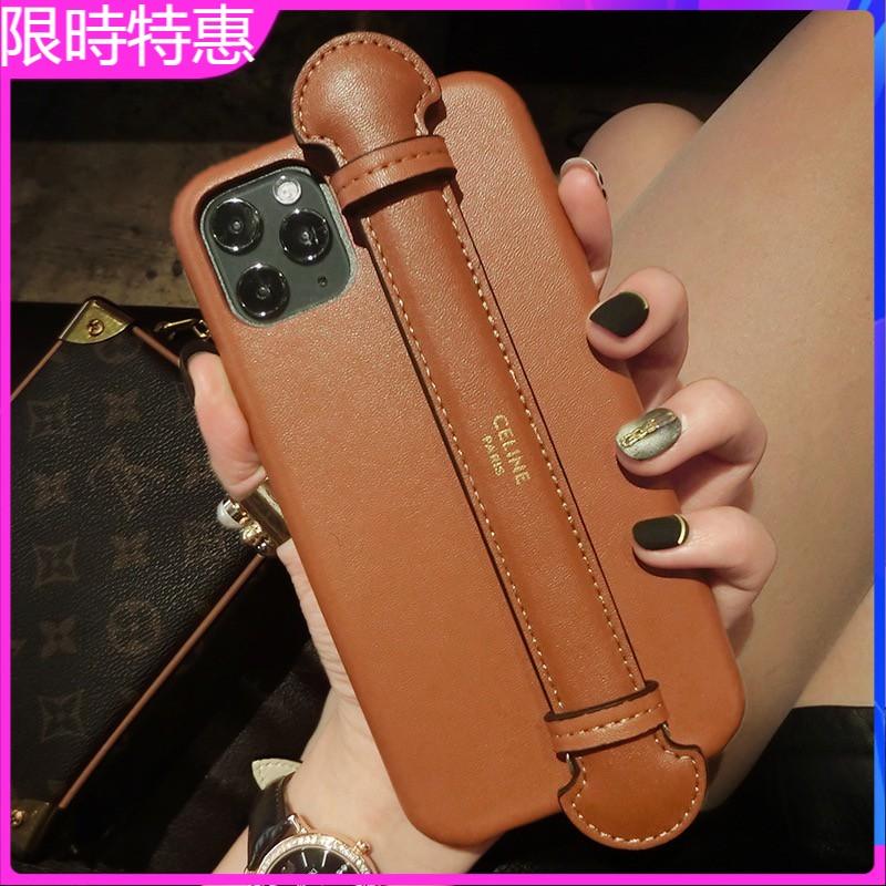 限時特惠 蘋果 12 11 XR XSmax 8 7P歐美  CELINE手機殼 皮革SE2 掛繩腕帶手機殼