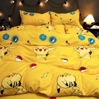 Blue cat❤️黃色皮卡丘卡通床上四件套被套床單人被罩雙人網紅床上用品三件套四件套 卡通四件套 桃園市