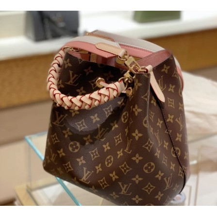 優惠 LV LOUIS VUITTON 粉色 編織手把 手提包 水桶包  斜背包 肩背包 M45577單肩包 手拿包