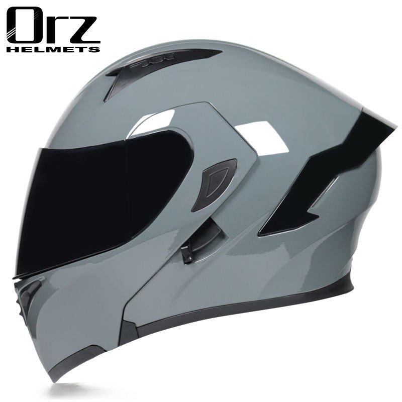Orz頭盔男女電動摩托車揭面盔全盔尾翼半盔安全帽個性冬季機車頭盔 iOt2