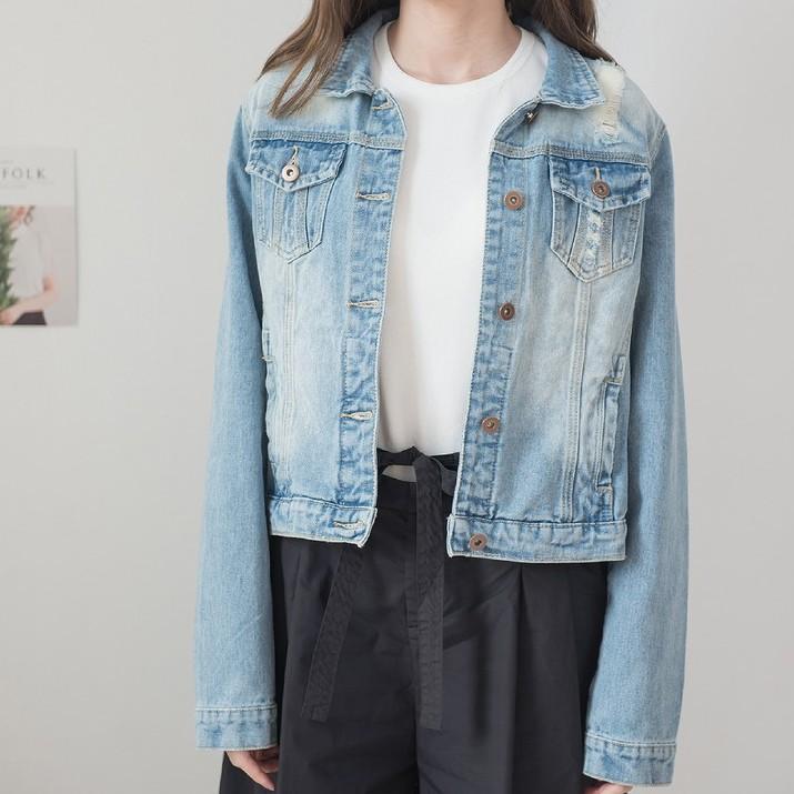 【MiROO】復古寬鬆抓破牛仔夾克 (藍)