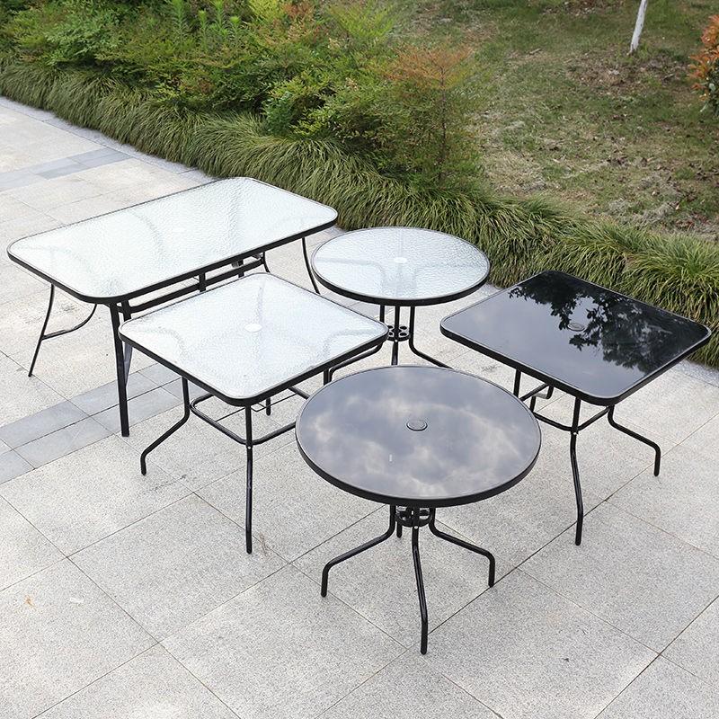 【免運費】户外桌椅组合带伞庭院露台休闲奶茶店室外花园铁艺小阳台桌椅套装