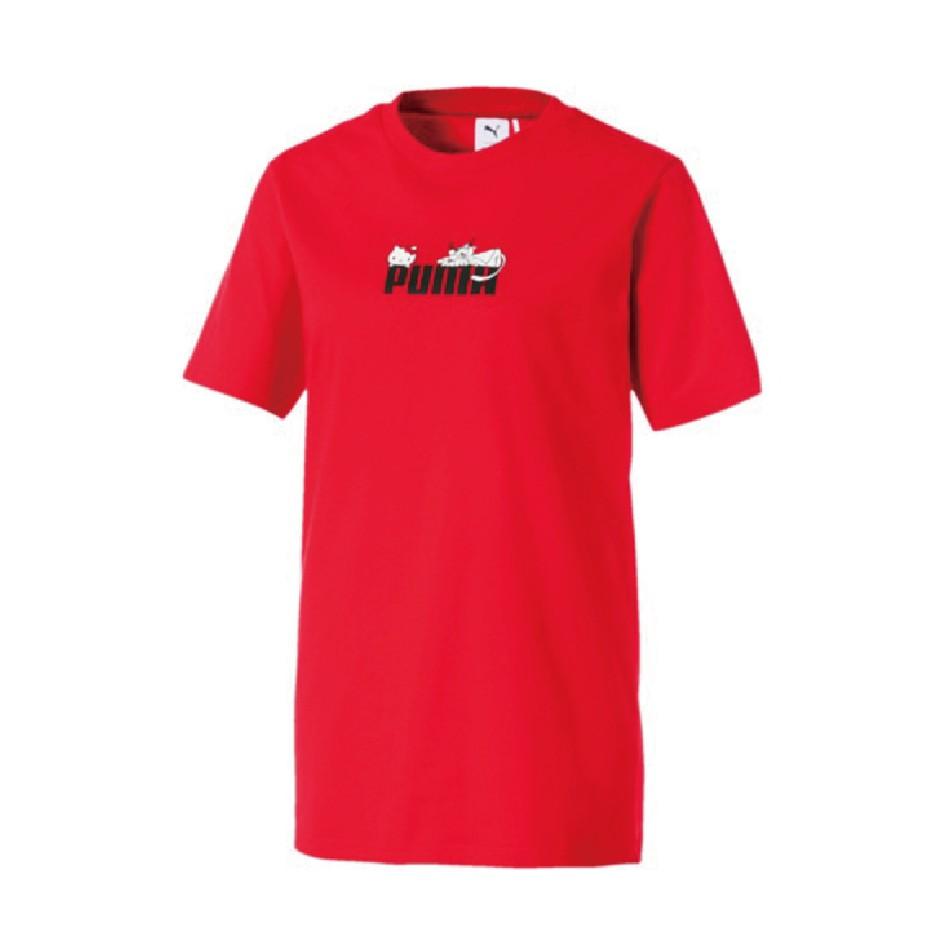 PUMA X HELLO KITTY 聯名 流行 短袖T恤 圓領 休閒 59714199 歐規 紅 女款