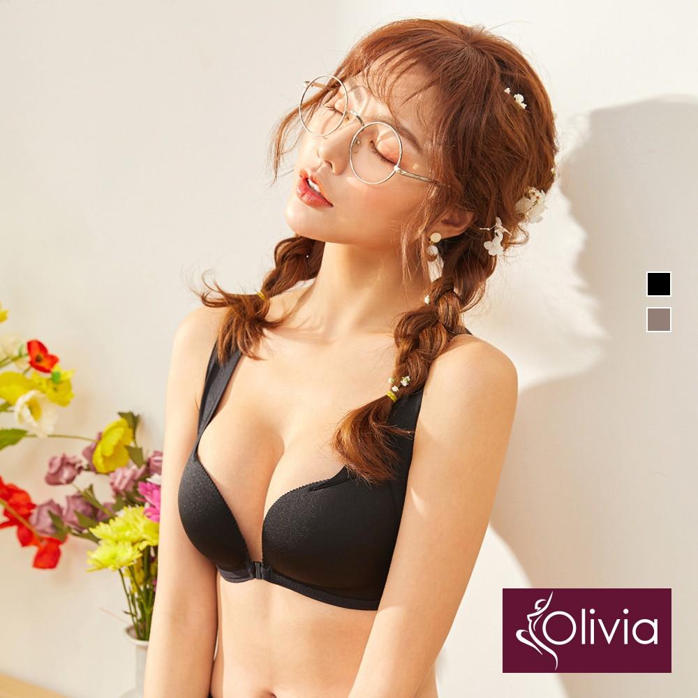 【Olivia】無鋼圈美胸前後雙扣3D超集中包覆內衣-黑色
