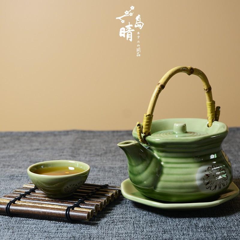 《日式店》日式陶瓷海鮮湯壺小茶壺茶杯土瓶蒸瓷器日韓料理餐具單人松茸湯壺