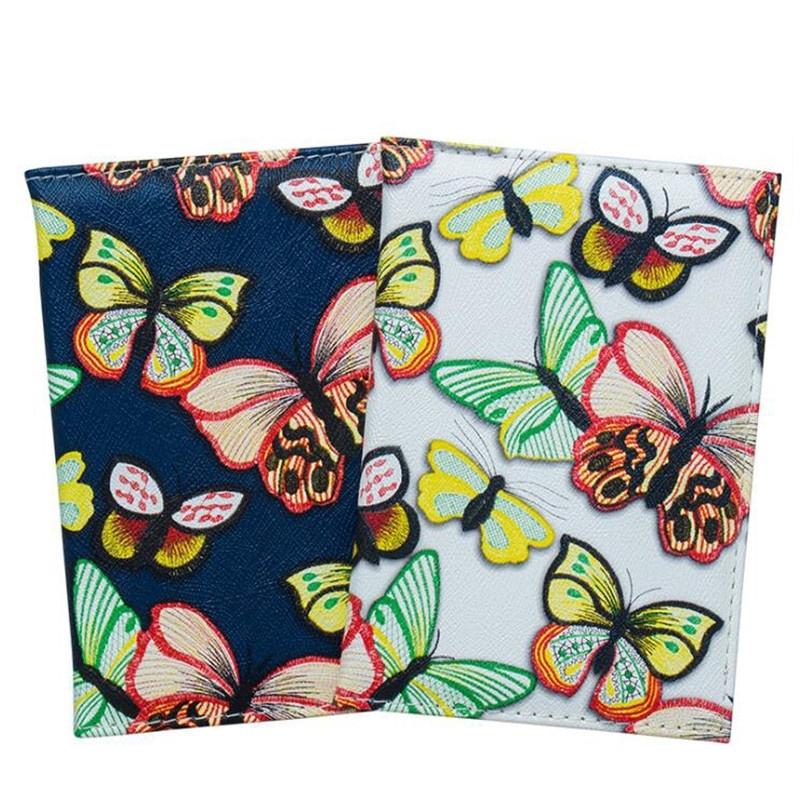 女士護照套錢包蝴蝶印花防水卡夾皮革旅行護照夾零錢包