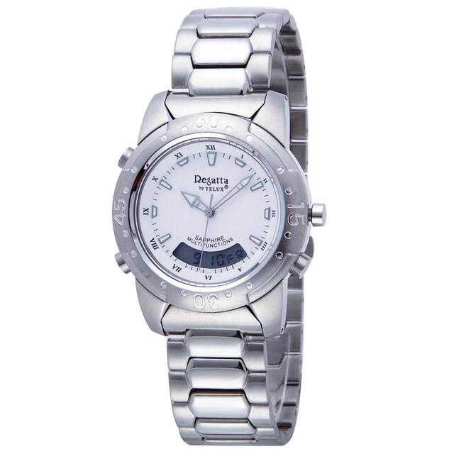 台灣品牌手錶腕錶【TELUX鐵力士】飛行員系列男腕錶手錶37MM台灣製造石英錶93512W-W鋼帶白面