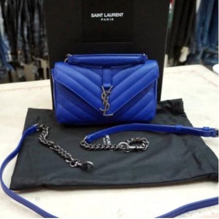 精品YSL 438492 古銅銀扣LOGO 藍色 Mini 手提/肩背款包 學院包