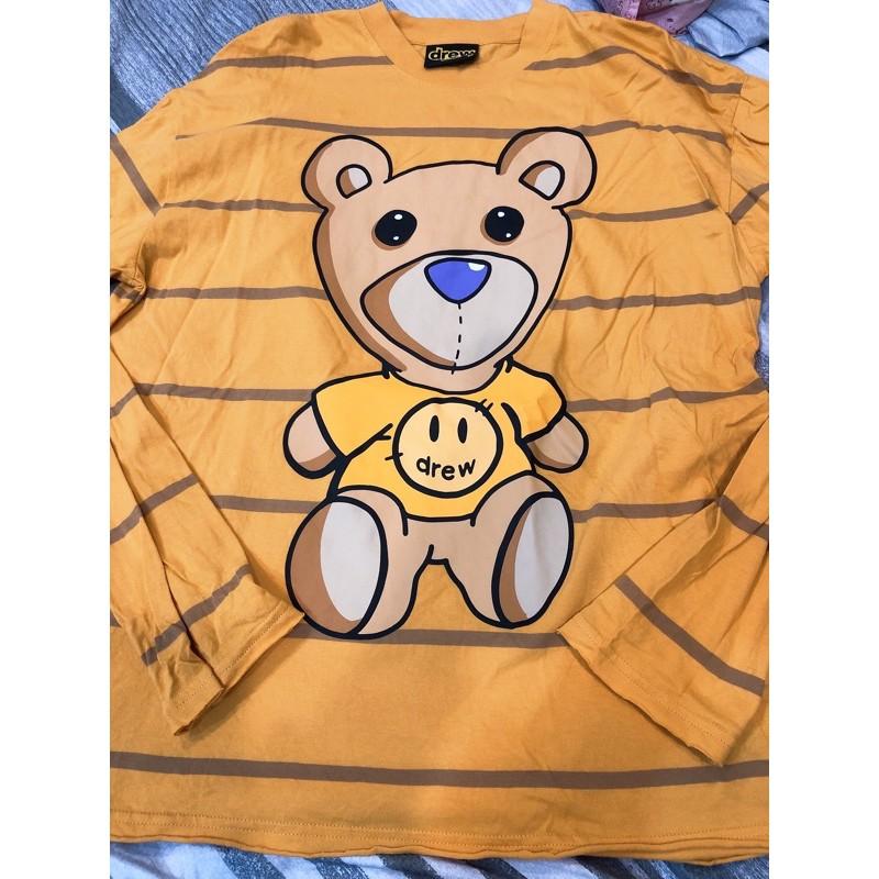 drew house 黃色熊熊🐻線條長袖上衣 M號 二手近全新