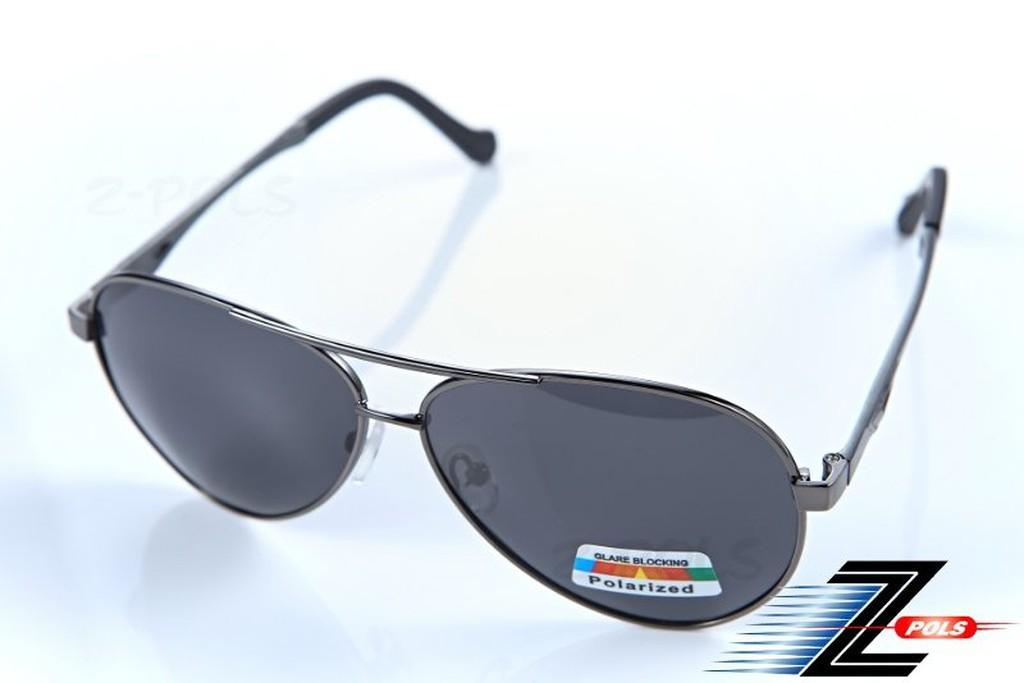 【Z-POLS專業金屬偏光款】鋁鎂合金 名牌風格 剽悍風格黑銀框,頂級寶麗來偏光眼鏡,盒裝全配!