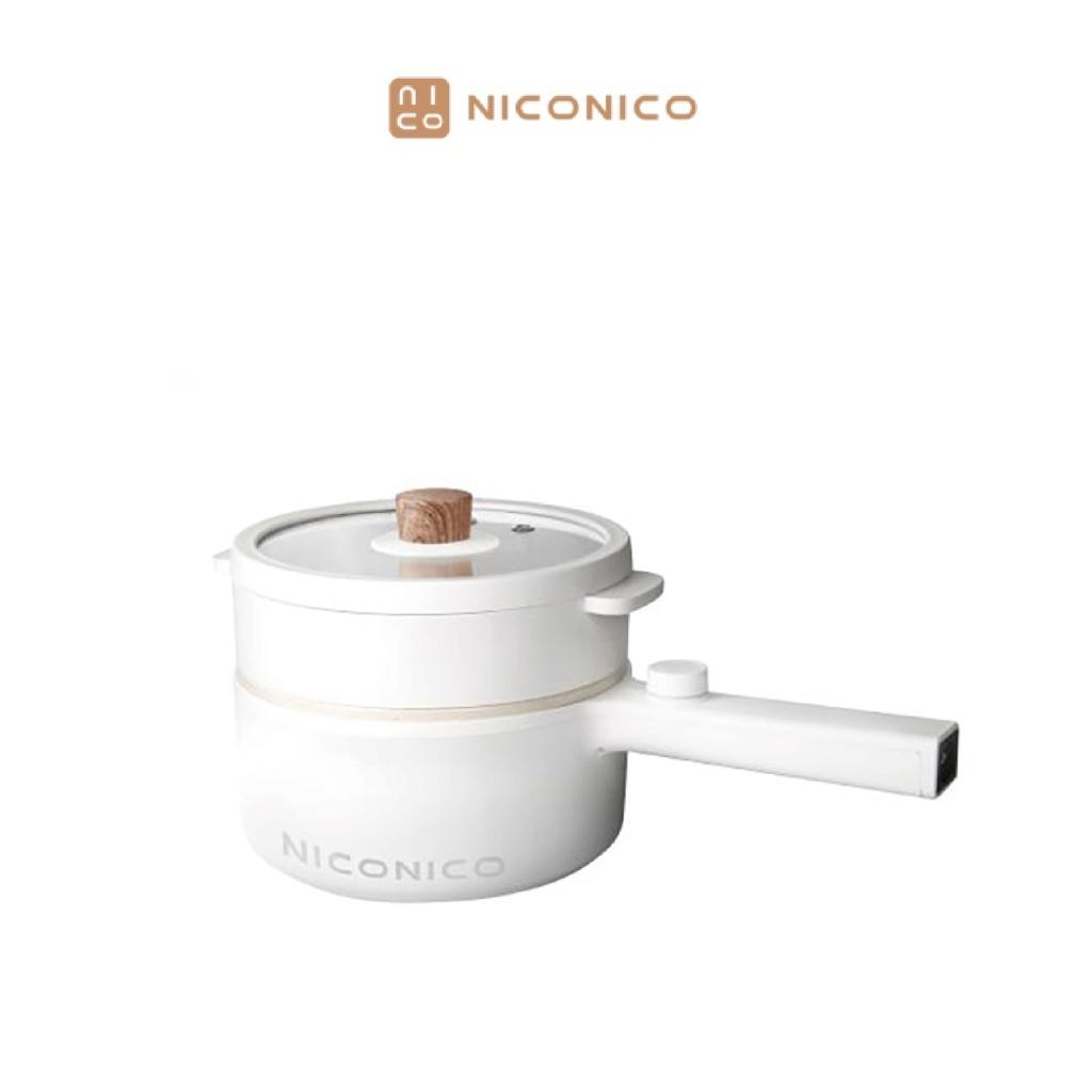 NICONICO 日式蒸煮陶瓷料理鍋 不沾鍋 兩檔火力 1.7L大容量 陶瓷塗層 大口徑深鍋 均勻受熱 NI-GP931