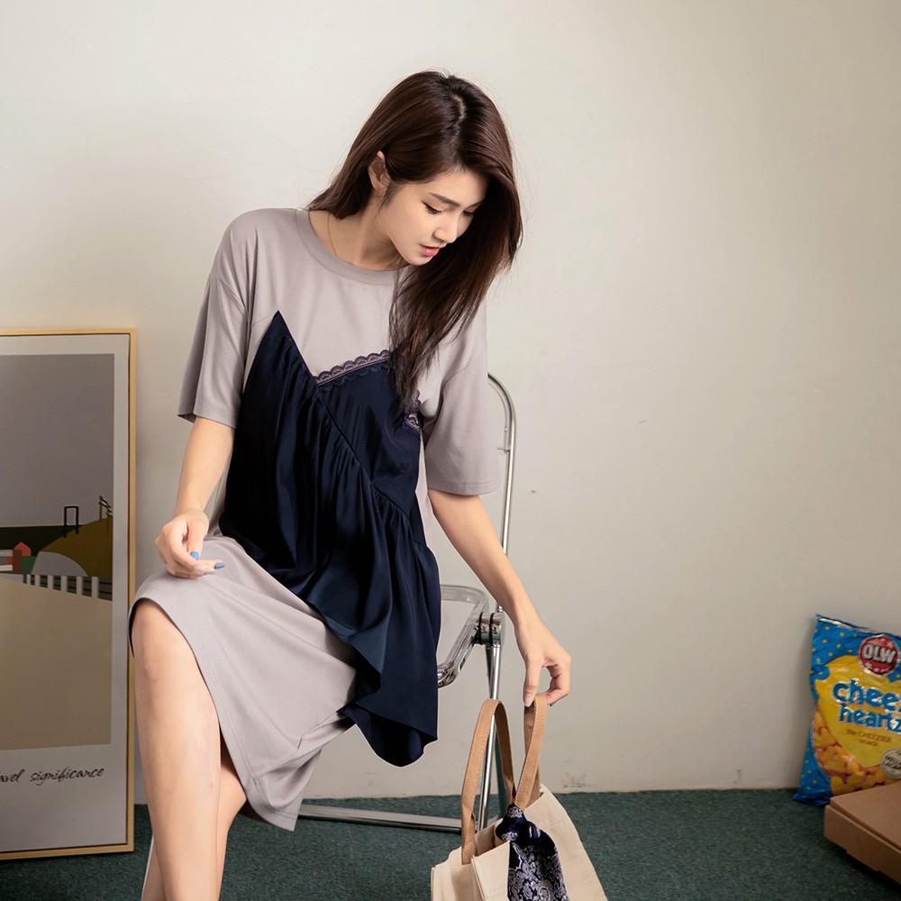 假兩件拼接蕾絲荷葉短袖及膝洋裝 《DA7972》
