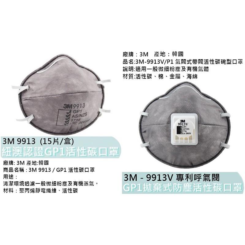工業用【花蓮源利】3M 美商 9913V (10入) GP1活性碳口罩 9913 (15入) 頭戴式帶氣閥活性碳碗型口罩