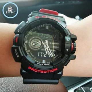 CASIO 卡西歐 G-SHOCK 防水手錶 運動鏢 機械錶 特別版重機雙顯錶-黑紅 GA-400HR-1ADR