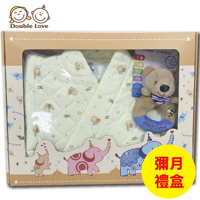 台灣製三層棉和服禮盒組【A70047】日本鋪棉和服+搖鈴手抓偶+彌月禮盒三件套