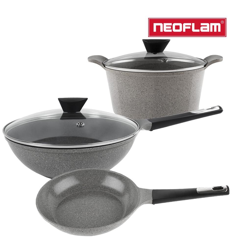 NEOFLAM Venn系列 鍋具3件組(24cm湯鍋+24cm平底鍋+30cm炒鍋)