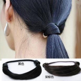 韓版直髮假髮髮圈 女士扎頭髮皮筋發繩頭繩馬尾髮飾頭飾批發