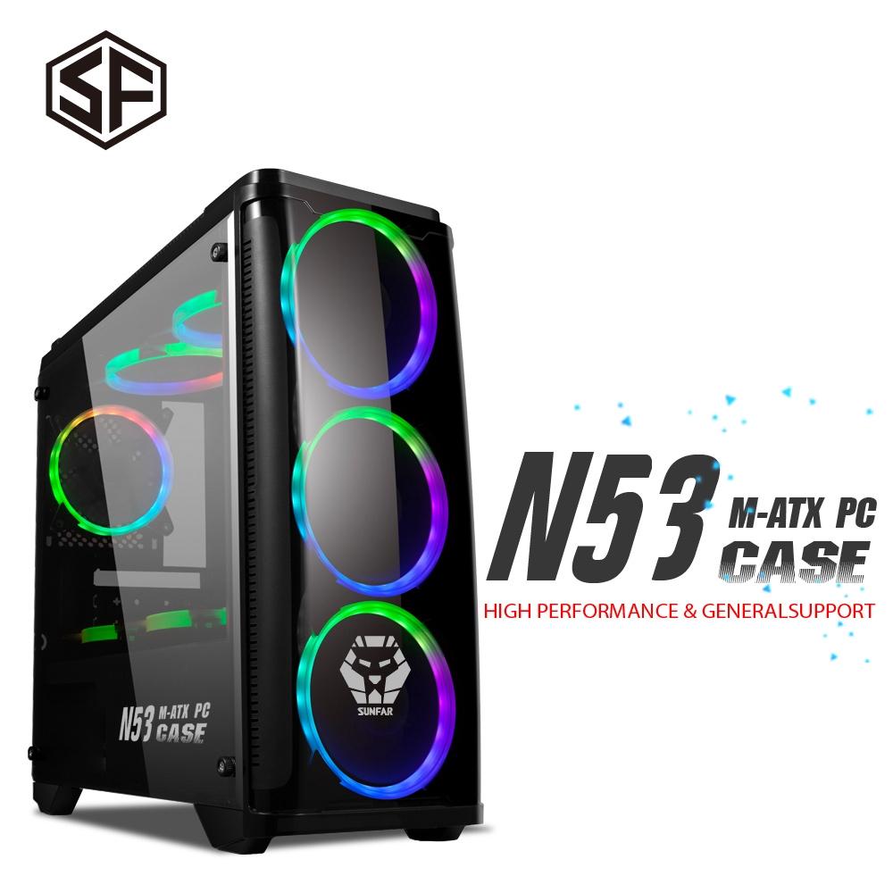 順發 SUNFAR N53 電腦機殼 2大2小 M-ATX 無附風扇 酷炫黑色