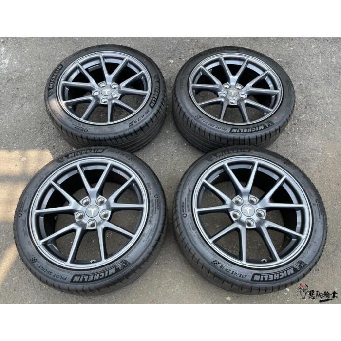 二手/新車落地鋁圈輪胎 原廠 鍛造 特斯拉 MODEL 3 18吋 5孔114.3 灰 含胎 米其林 235/45-18