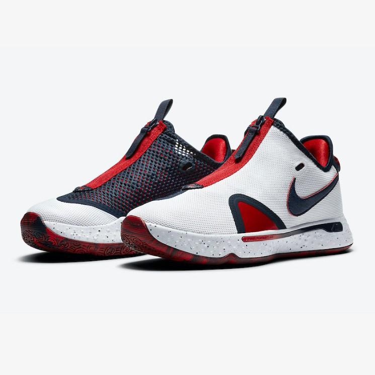 NIKE PG4 EP x保羅喬治 男 全腳掌Nike Air氣墊拉鍊 奧運配色籃球鞋 CD5082-101 8~8.5