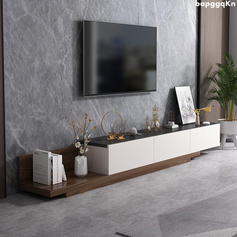 (原良居定制館)茶幾電視柜組合現代簡約火燒石玻璃地柜客廳家用可伸縮小戶型北歐
