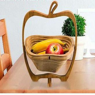蘋果造型竹製水果籃(全新)