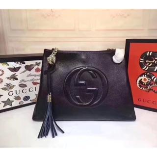 古馳Gucci GG Soho 單肩手提包 流蘇吊飾購物袋 肩背包 皮包 古馳包包 女包 台北市