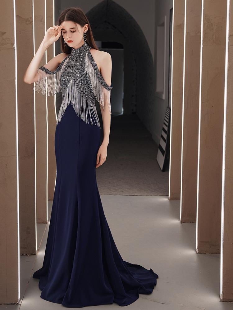 ◤禮服女◢晚禮服裙女2020新款氣質奢華重工流蘇氣場女王年會主持人長款魚尾