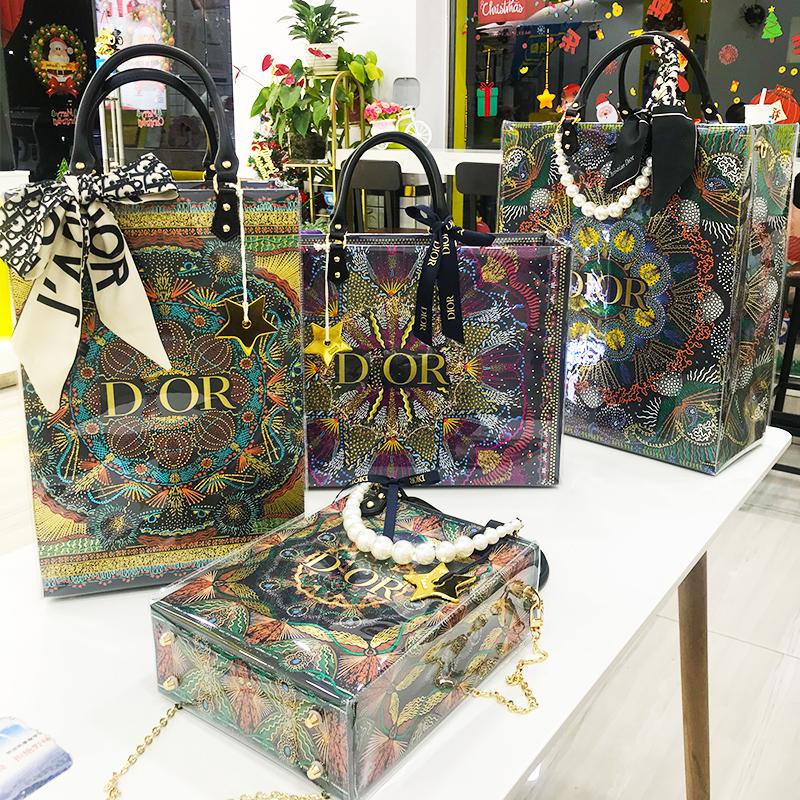 紙袋包 紙袋改造包 名牌紙袋 紙袋改造材料包 適用dior迪奧新款聖誕限定紙袋改造包大牌奢侈品購物袋diy手工包