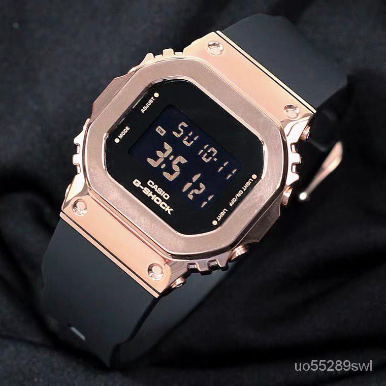 【潮玩卡西歐】卡西歐GSHOCK女款金屬小方塊防水手錶GM-S5600-1PR/S5600PG-