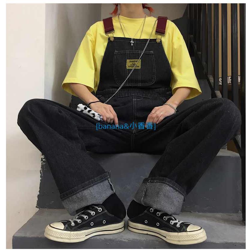 韓國INS 男女款~休閑復古工裝背帶牛仔褲 寬松直筒闊腿牛仔吊帶褲 四季可穿!banana小香香線上