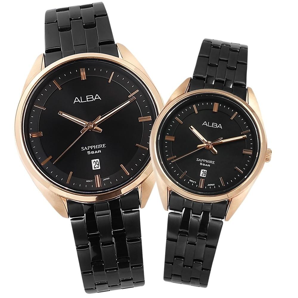 ALBA雅伯 簡約時尚 情人對錶 -黑x鍍玫瑰金框/ 41mm+29mm