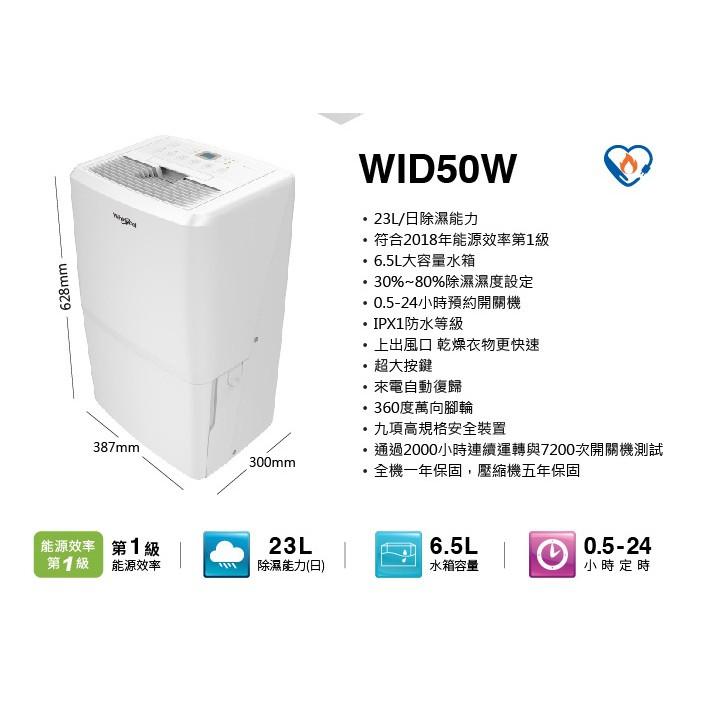 福利品大特賣[Whirlpool惠而浦] WID50W 23公升除濕機(等級1&2)