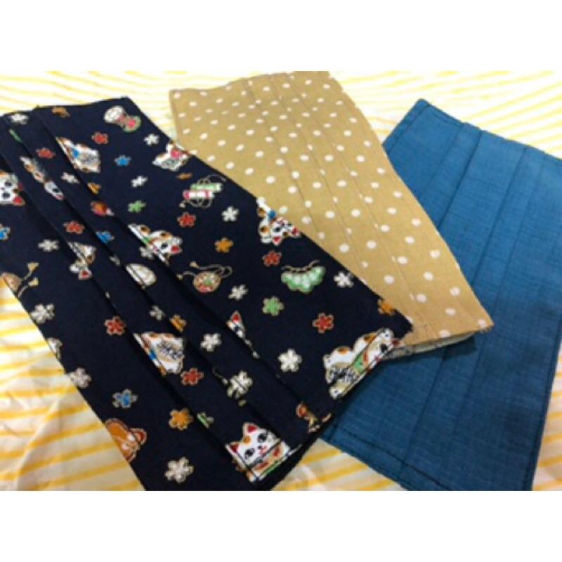[現貨]全新日本布手工口罩套全棉正反面4摺四摺-加鐵片鼻梁鐵絲鐵條-成人