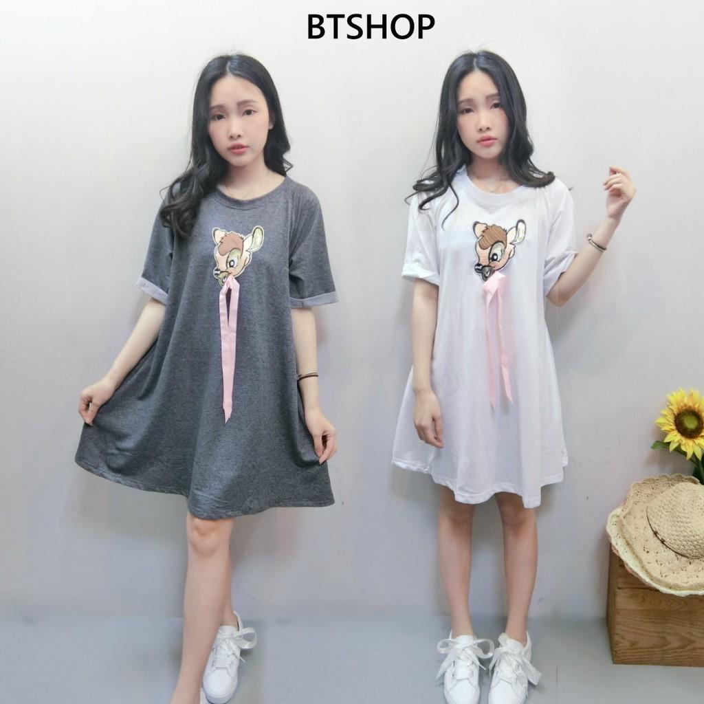 BTSHOP【現貨供應】小鹿斑比傘狀寬鬆洋裝 大T 大尺碼 孕婦裝 短洋 B00813