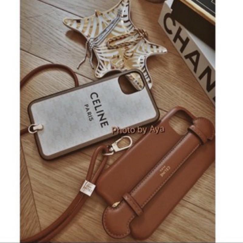 歐美Celine iPhone 11手機殼皮革腕帶手機殼蘋果