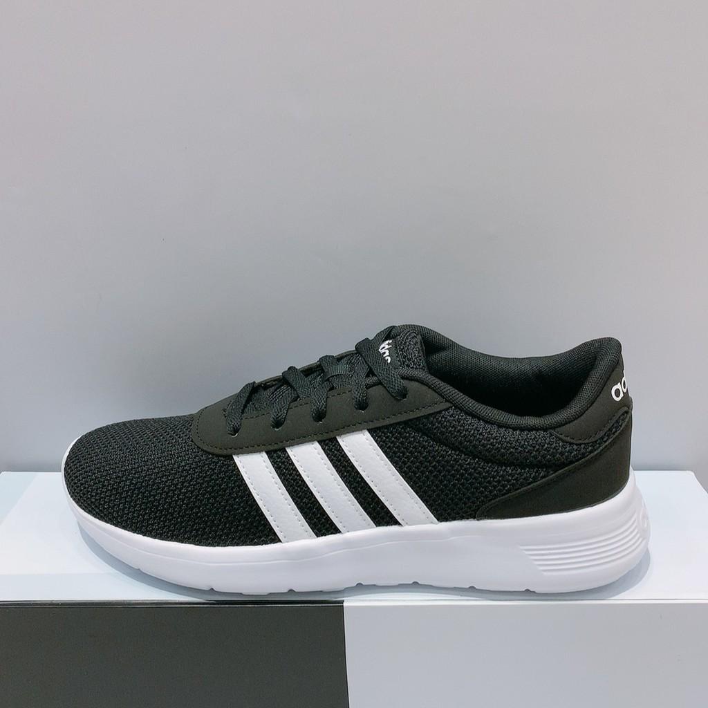 adidas LITE RACER 男生 黑白色 輕量 透氣 慢跑鞋 EH1323