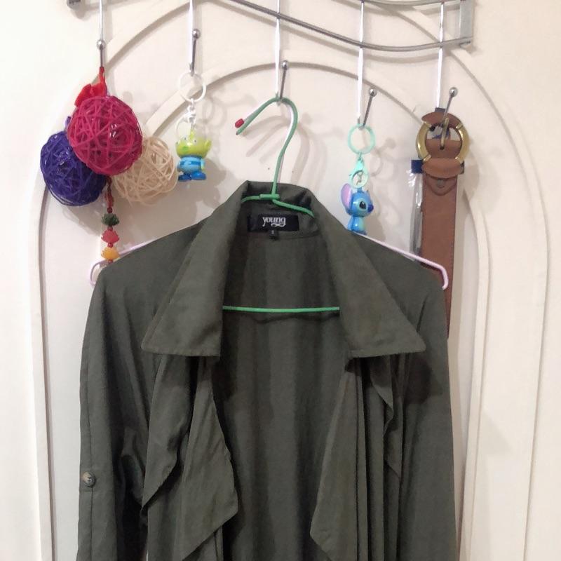 長版襯衫外罩衫-綠-s號
