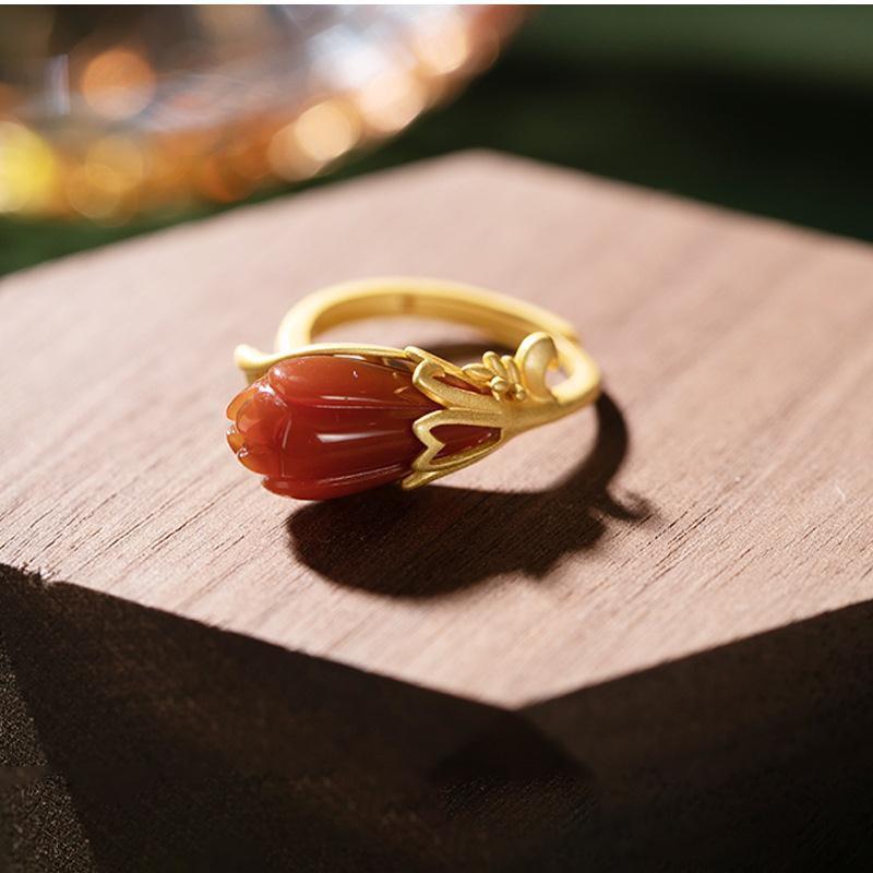 原創古法金紅玉髓玉金蘭花高檔氣質女士開口紅寶石大氣戒指金色指