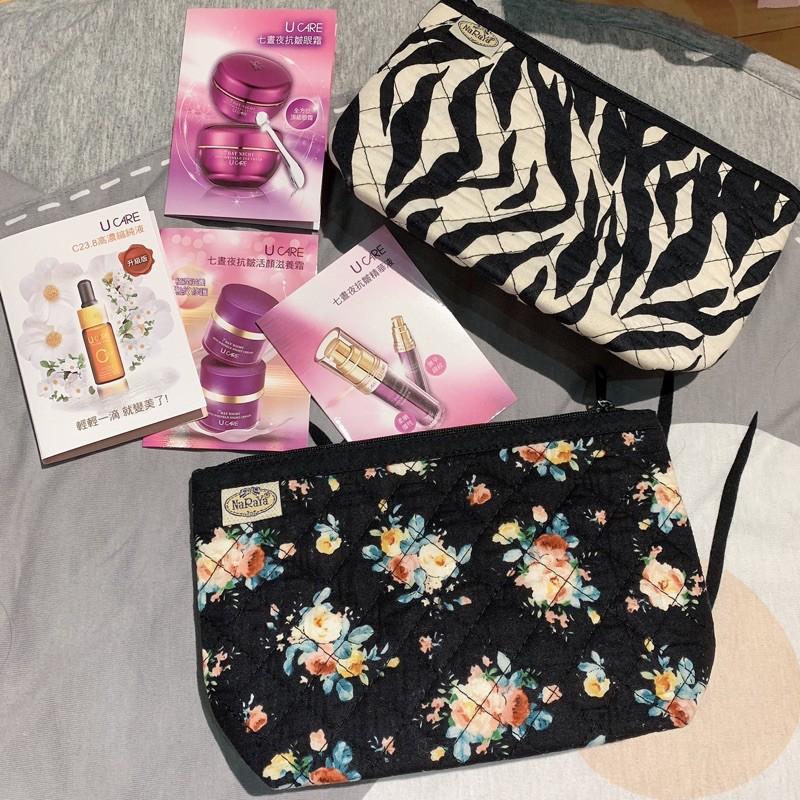 泰國曼谷包 NaRaYa 化妝包 合售 斑馬紋 黑底花色 萬用包大包中的分類小袋醫用包盥洗包 買就送 Ucare小樣試用