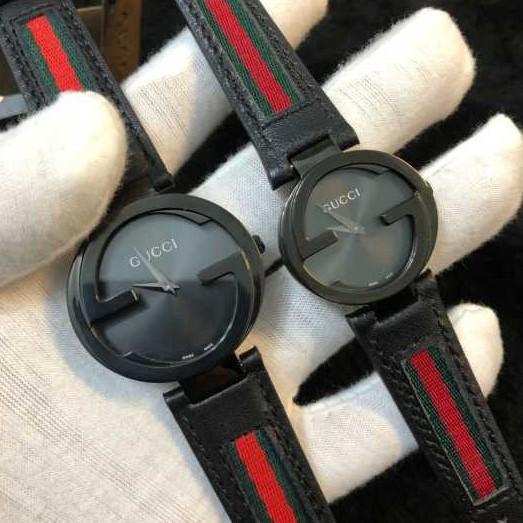 Gucci 古馳情侶款真牛皮石英對錶 專櫃經典款 原裝機